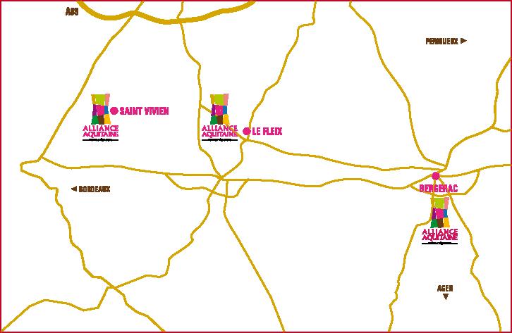 Carte des magasins Alliance Aquitaine